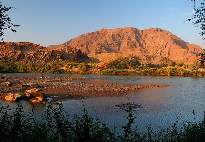 Kunene River view from Camp Syncro, Marienfluss, Kaokovled, Namibia