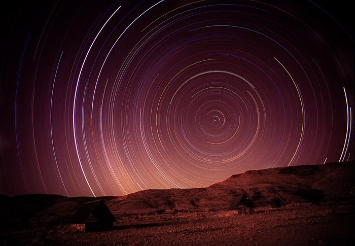 Star Circles, 8-hour exposure, Tjeriktik Camp, Namib-Naukluft National Park, Namibia