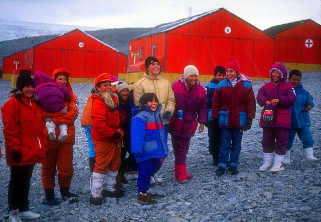 Argentinian children prepare to winter-over, La Esperanza Station, Antarctica