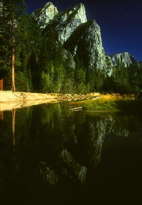 Three Brothers and reflection, Yosemite Valley, California