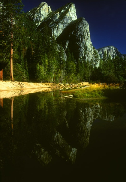 Three Brothers and reflection, Yosemite Valley, California