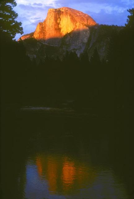 Half Dome Sunset Reflection in Merced River, Yosemite, California