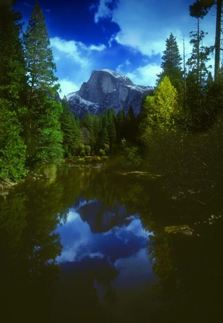 Half Dome autum reflection in Merced River, Yosemite, California
