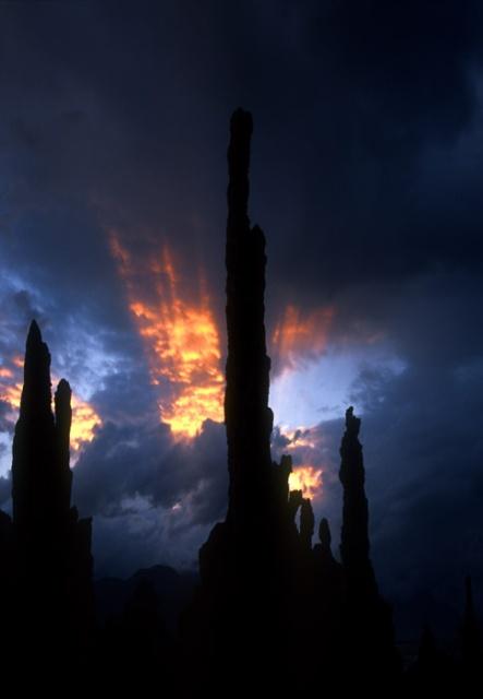 Pillars of light and stone, Mono Lake Sunset