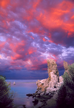 Sunset clouds and tufa towers Mono Lake