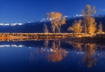 Winter morning, White Mountains and pond, eastern Sierra