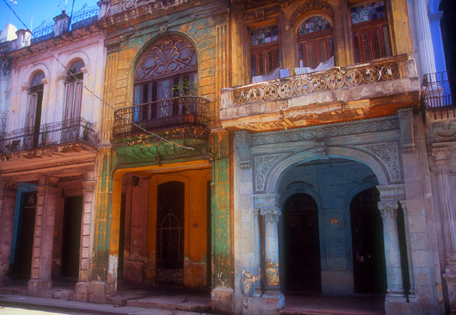 Once opulent facades show the raveges of time under Castro's regime