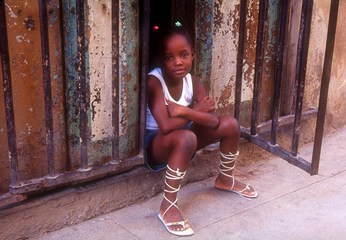 Young Black Girl in Doorway, Havanna, Cuba