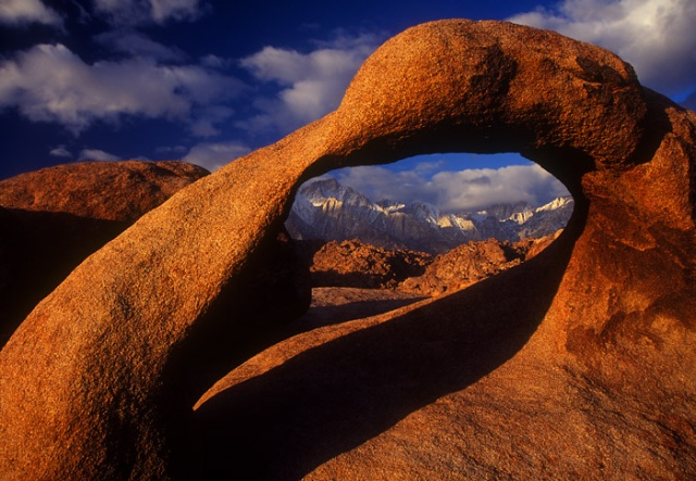 Alabama Hills Arch with clouds,  Alabama Hills, California