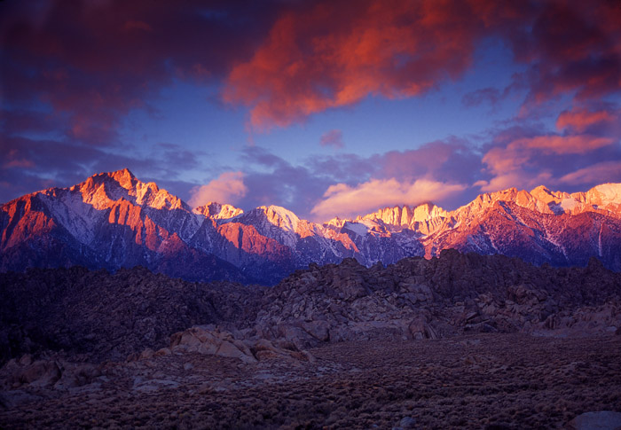 Alabama Hills Sunrise over Sierra Nevada Mountains