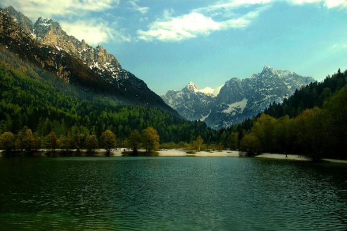 Julian Alps from Jasna Lake, Slovenia