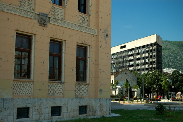War-ravaged buildings, Mostar, Bosnia & Herzegovina