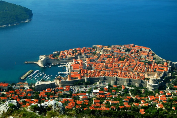 View of Dubrovnic from hill overlooking the walled city