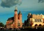 St. Mary's Church and Cloth Hall Market, Rynek Square, Krakow, Poland