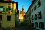 Medieval streets and clock tower, Citadel, Sighisoara, Romania