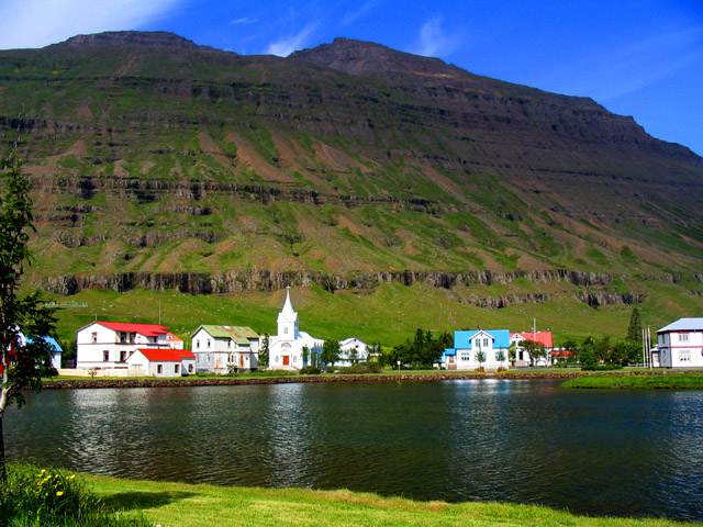 Seydisfjordur village, eastern Iceland. This is where the ferry from England arrives
