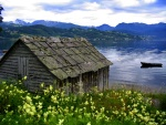 100 year-old slate-roof boathouse, Hardangerfjord, Norway