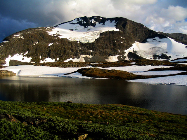 Snow in July: 4,400' Prestesteinsvatnet lake, Jotunheimen Nat Park, Norway