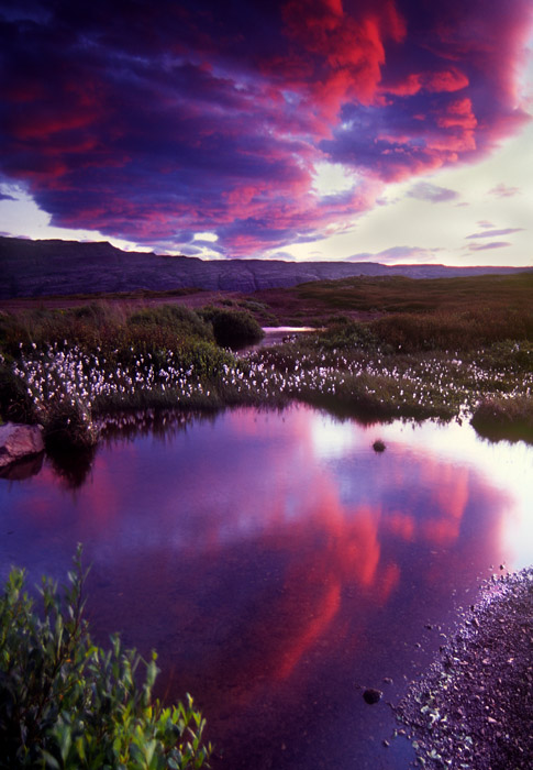 Sunset clouds at midnight, Iceland