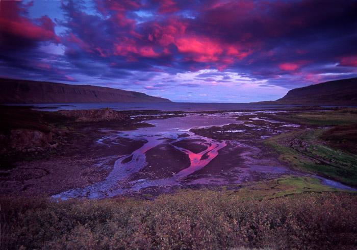 Sunset on Fjord, Thingmannaheidi, Iceland