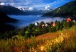 Stalheim Village and fog, Norway