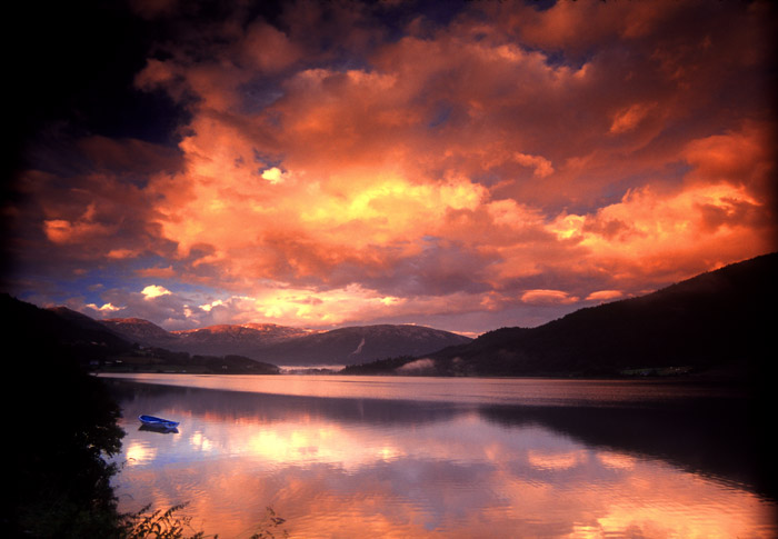 Sunset over Oppheims Lake, Norway