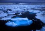 Blue iceburg among pack ice, Spitzbergen