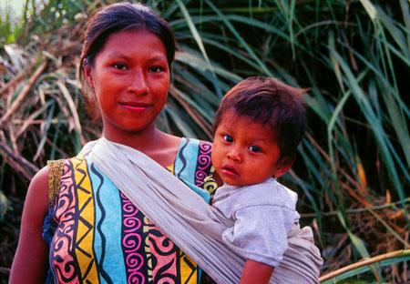 Amazon Indian woman and child Rio Napo, Ecuador