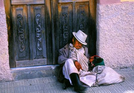 Man Sleeping in Doorway Cotacachi, Ecuador