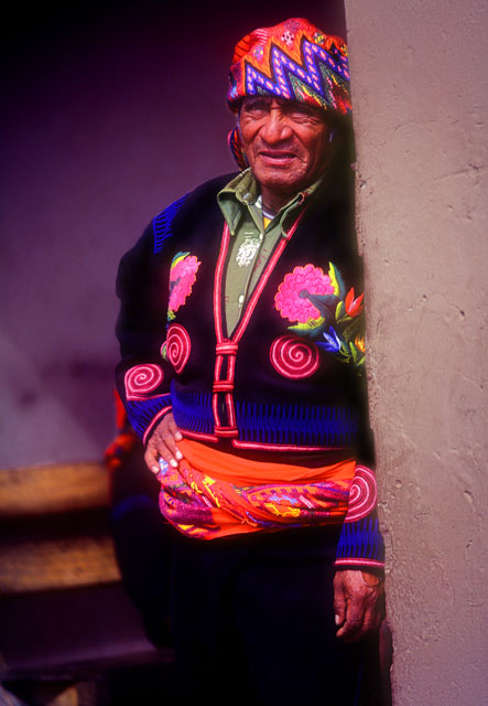 Man in traditional embroidered clothes, Chichicastenango, Guatemala