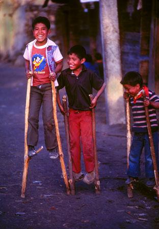Boys on Stilts, Angahuan village Michoacan, Mexico