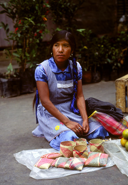 Indian Woman Selling Handmade Straw Baskets, Oaxaca, Mexico