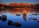 Mono Lake moonset at sunrise, California