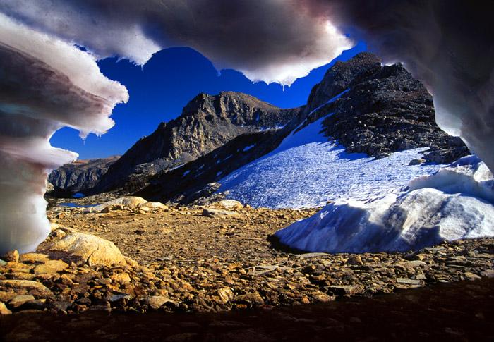 Snow cave, Piute Pass, Sierra Nevada, California