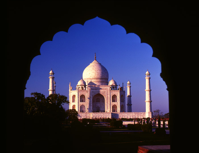 Taj Mahal framed by archway, Agra, India