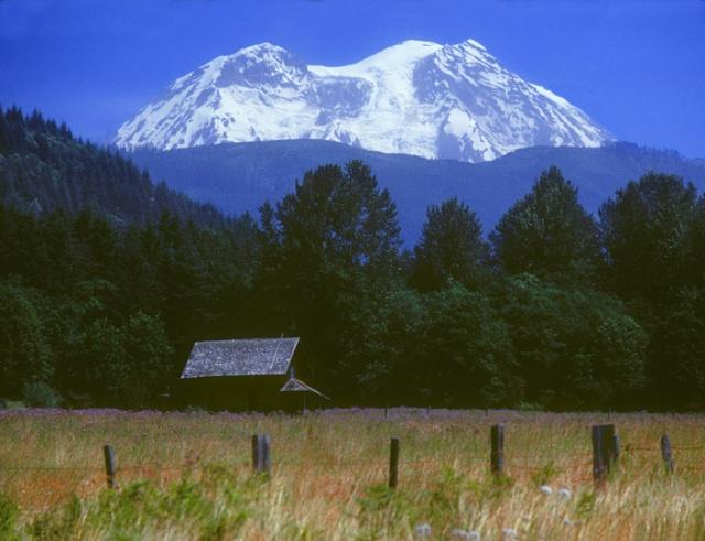 Mt Rainier and Cabin, Washington