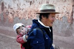 Tibet, Old man carrying little girl, Markham