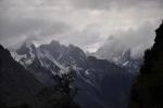 Tibet, stormy mountains near Pomi