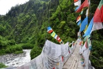 Tibet, bridge over the Parlung Tsangpo River draped with prayer flags near Bakhar Monastery.