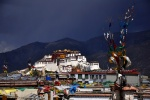 Potala Palace above the rooftops of Lhasa, Tibet