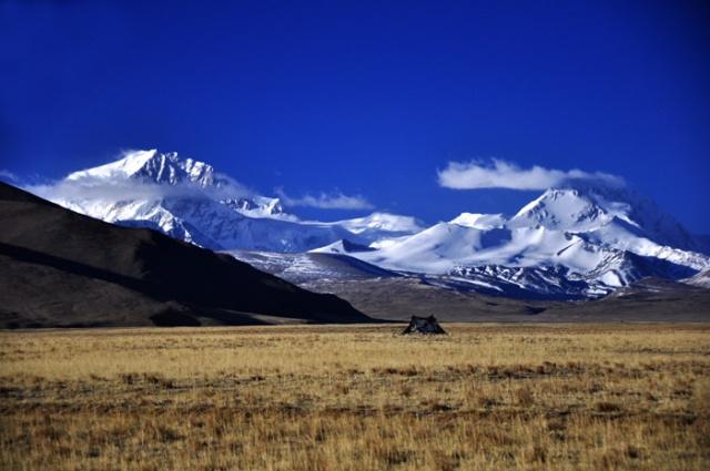 Tibet - a nomad's tent below icy 7,000 meter peaks of western Tibet