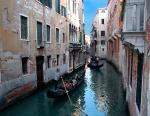 Gondolas in canal, Venice, Italy