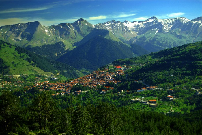 Metsovo village and Mt Lakmos, Thessaly, northern Greece