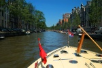 Canal view from canal boat, Amsterdam, Netherlands