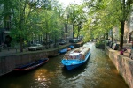 Boat on canal, Amsterdam, Netherlands
