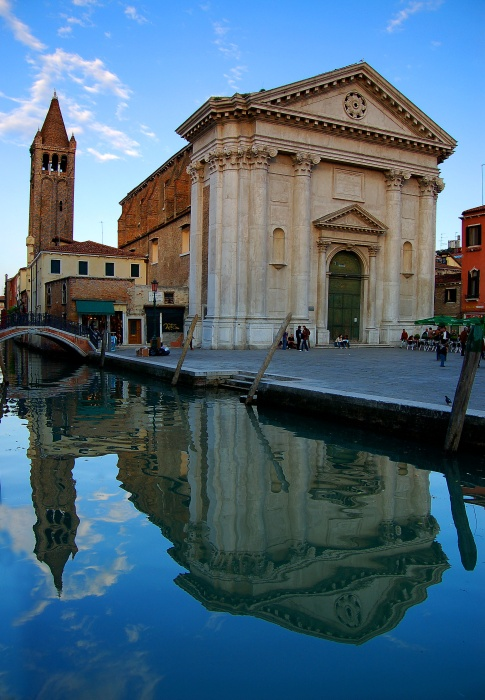 St. Barnaba church reflected in canal, Venice, Italy